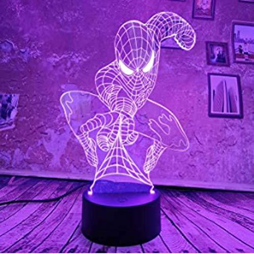 Spiderman 3D LED Illusielamp Nachtlampje Drie Patronen en 16 Kleuren Verander Decorlampen met Afstandsbediening Perfect Cadeau voor Kinderen Volwassenen