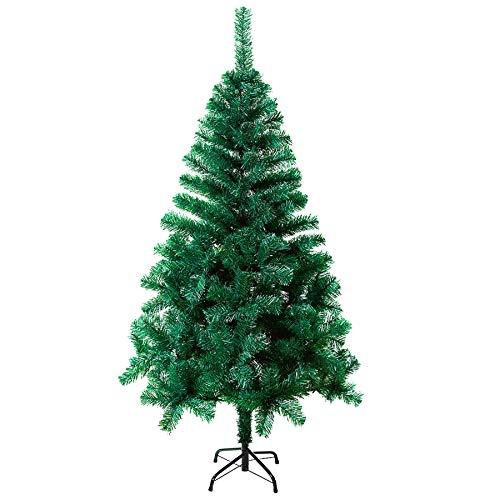 Clanmacy 150cm Weihnachtsbaum künstlich mit 350 Zweige, Christbaum mit Metall Ständer, Abziehbar Zusammenklappbar und Schwer Entflammbar Tannenbaum Grün