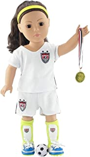 "Emily Rose 18 Inch Doll Clothes Team USA-Inspired 8 Piece 18"" Doll Soccer Uniform, Including Gold Medal 