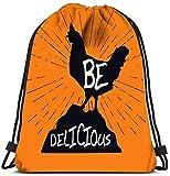 Mochila con cordón IUBBKI, Mochila Vintage Hipster con pollo y Sunburst Be Delicious Logo Design Mochilas de viaje Mochila de asas