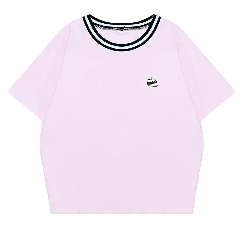 Dokuichigo 韓国ファッション 半袖Tシャツ レディース トップス ケーキ オルチャン 原宿系 夏