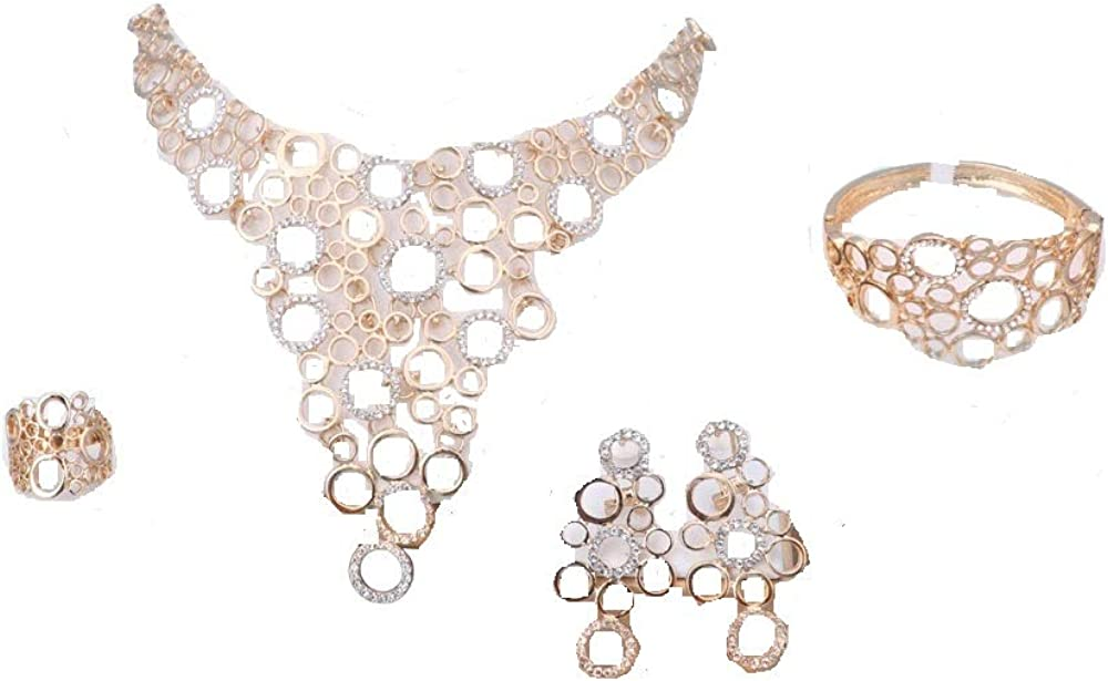 wang Bridal Nigerian Wedding African Beads Jewelry Set Crystal 18k Gold Plated Jewelry Wedding Party