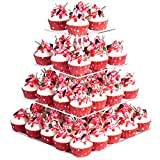 YestBuy 4 Tier Maypole Square Wedding Party Tree Tower Acrylic Cupcake Display Stand (12.6 Inches)
