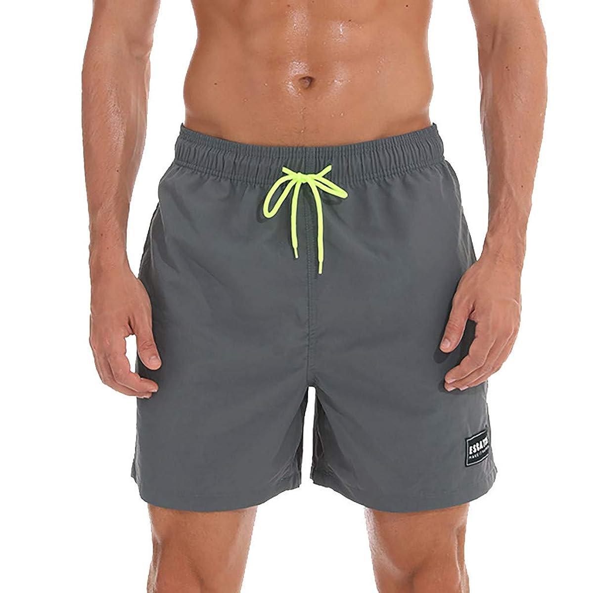 CHAELAKES Beach Shorts for Men, Men's Summer Quick Dry Beachwear Print Swim Pants with Mesh Liner Surfing Running Shorts