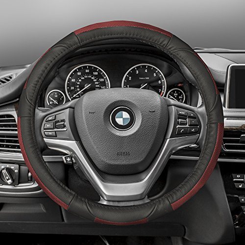 FH GROUP FH-FH2002 Premium Genuine Full Grain Leather Steering Wheel Cover Red/Black