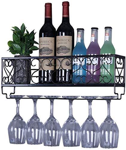 YLongFEI Wijnplank Opslag Rekkast Stemware Rekken Metalen Bar Eenheid Drijvende Planken Ophangen Wijnglas Houder Vintage Stijl voor Bar, Keuken, Wijnkelder
