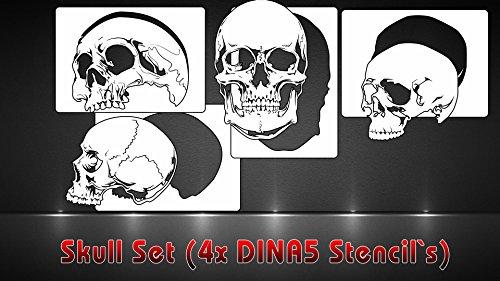 Airbrush Schablonen 4er Set Skull Schablonen DINA5