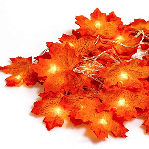 Gibot Thanksgiving Decorations Lights Fall Garlands, 20 LED 7.2 Feet Battery Powered Maple Leaf Lights Harvest Thanksgiving Decor Halloween String Lights for Indoor Outdoor Wedding Garden