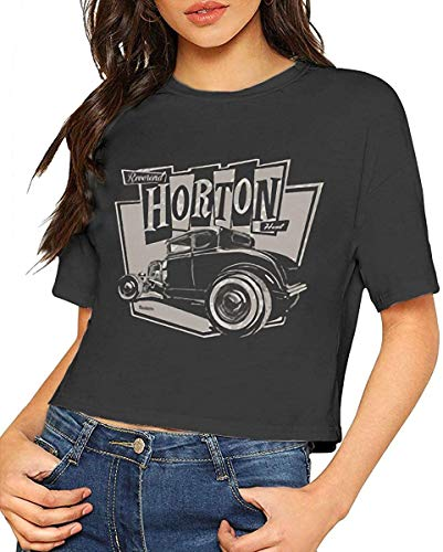 Qhghdgysd Horton Women's Exposed Umbilical Short-Sleeved Personality T-Shirt Black,Medium