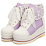 SaraIris Women's Cute Platform Lolita Boots, Lace-up Cosplay Brogue Sneakers Wedges Ankle Boots Purple