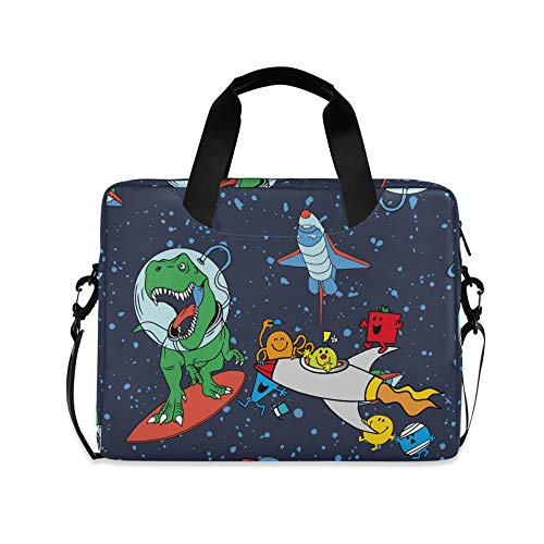 ALAZA Dinosaur Mr Men Little Miss Space Galaxy Laptop Case Bag Sleeve Portable Crossbody Messenger Briefcase w/Strap Handle, 13 14 15.6 inch