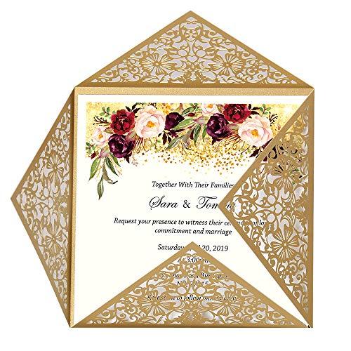 Doris Home wedding invitations wedding invites invitations cards wedding invitations kit Square Gold Laser-cut Lace Flower Pattern Invitation, 1 piece,CW520_GO