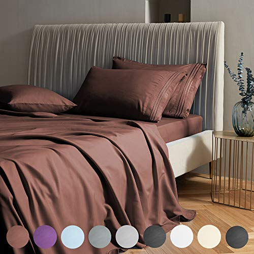 """SAKIAO Queen Size Bed Sheets Set - Brushed Microfiber 1800 Thread Count Percale - 16"""" Deep Pocket Egyptian Sheets Beautiful Breathable - 4 Piece (Brown,Queen)"""