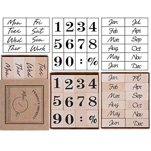UCEC 32 Pieces Number Stamp, Wooden Rubber Stamp Set, Week Months Number Design Decorative Stamps Vintage Dairy Stamps for Card Making DIY Craft Scrapbooking