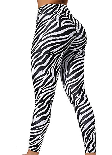 INSTINNCT Damen Muster Printed Strumpfhose Leggings Jogginghose Sportleggings Yoga Hose Fitness Tights Zebra Muster-1630 S