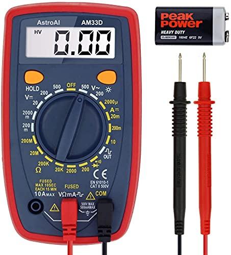 Multímetro digital AstroAI com amplificador de voltagem Ohm e medidor de teste de tensão de diodo (duplo fundido para anti-queima)