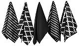 Penguin Home - Geschirrtuch aus 100% Baumwolle, 5er-Set - weich - strapazierfähig und extrem saugfähig - stilvolles Schwarz Design mit mehreren Mustern - maschinenwaschbar - 65 x 45 cm