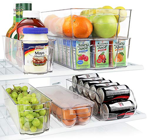 Mejor Greenco GRC0250 Fridge Bins, Stackable Storage Organizer Containers with Handles for Refrigerator, Freezer, Pantry and Kitchen Cabinets, BPA, Standard, Clear crítica 2020
