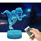 Dinosaure 3D Lampes avec Télécommande, QiLiTd LED Lampe 16 couleurs Lumière Dimmable Tactile Interrupteur USB/Batterie Insérer, Decoration Anniversaire Cadeau Noël Pour Bébé Enfant Ado Femme Homme