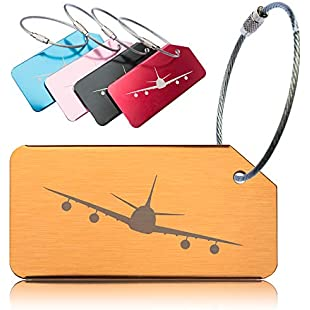 Luggage Tags for Travel Suitcase, Baggage, Hand Bag - 5 Pack. Secure, Strong Metal Tag and Cable. Confidential - Name Only Visible on Label. Easy ID - Unique Design and Distinctive Bright Colours:Deepld