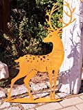 Rostoptik Hirsch 75x55cm Garten Dekoration Tierfigur Geweih Waldtiere