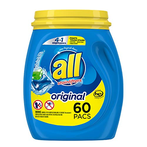 All Mighty Pacs Laundry Detergent 4 In 1 Stainlifter, Tub, 60 Count