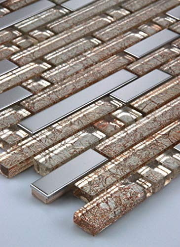 Mosaikmuster Glasmosaik Mosaikfliese Edelstahl Metall Metalleffekt Fliese Gold silber 30x15cm