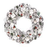 Dibor Winter Berry Christmas Front Door Wreath Large Wall Hanging Garland Ornament