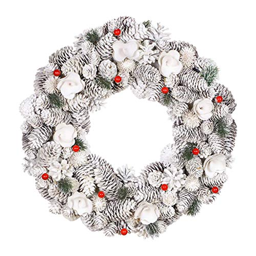 Dibor Winter Berry Christmas Front Door Wreath Large Wall Hanging Garland Ornament