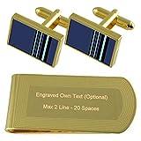 Select Gifts RAF Airforce insegne Rank Maresciallo dell'aria Gold-tone gemelli denaro inciso Clip Set regalo