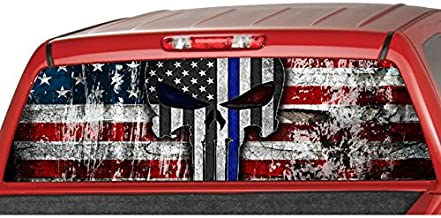 American Flag Police Blue Line Punisher Skull Rear Window Graphic Decal Tint Sticker Truck suv ute (large 22