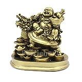 Petrichor de 5 pulgadas hecho a mano Fengshui Buda riendo montado en dragón y lingote Decoración y regalos para el hogar