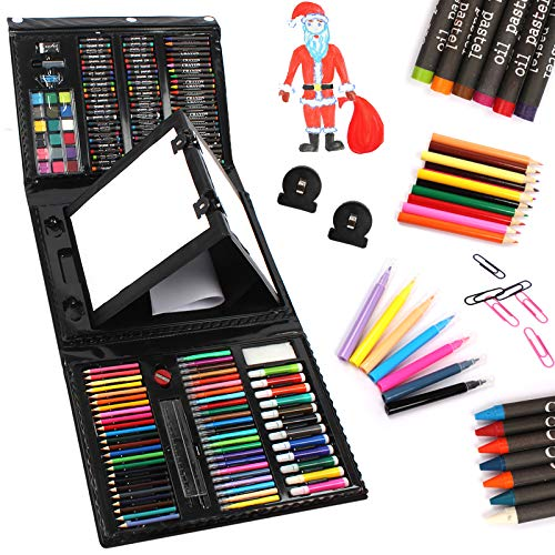 UMARDOO 208 Pieces Art Set with Double Side, Trifold Drawing Set with Oil Pastels, Crayons, Colored Pencils, Markers, Paint Brush, Watercolor Cakes, Sketch Pad (Black)