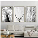Moderne Skandinavische Wandkunst Grau Weiß Baum Leinwand