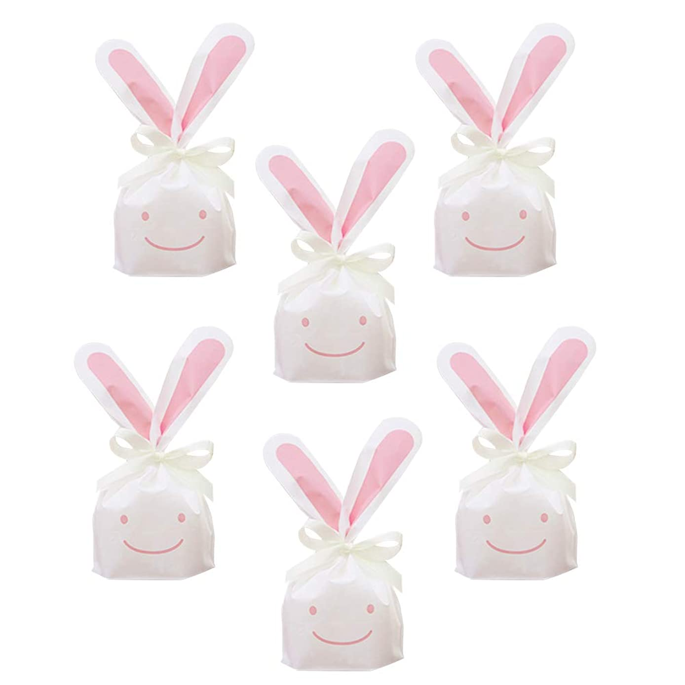 50Pcs Bunny Gift Bags Candy Wrap Bags Party Favors Supplies Rabbit Ear Treat Bags Candy Gift Wrap Bags with Twist Ties for Kids Party