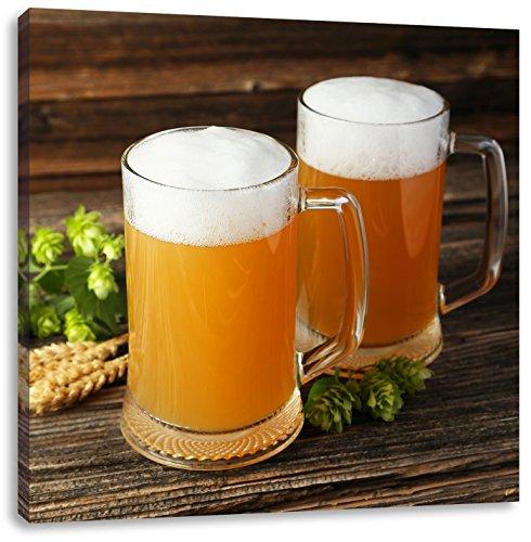 Heerlijk bier met hopCanvas Foto Plein | Maat: 70x70 cm | Wanddecoraties | Kunstdruk | Volledig gemonteerd