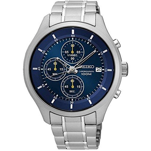Seiko De los Hombres 43mm Acero Pulsera y Funda Hardlex Cristal Cuarzo Azul Dial analógico Reloj sks537