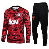 LQRYJDZ Manchester United Football Club Fútbol de Fútbol Traje de Fútbol Primavera Otoño Adulto Manga Larga Traje de Concurso Equipo Sportswear Team Uniform Uniform Top + Pantalones Juego de 2 Piezas