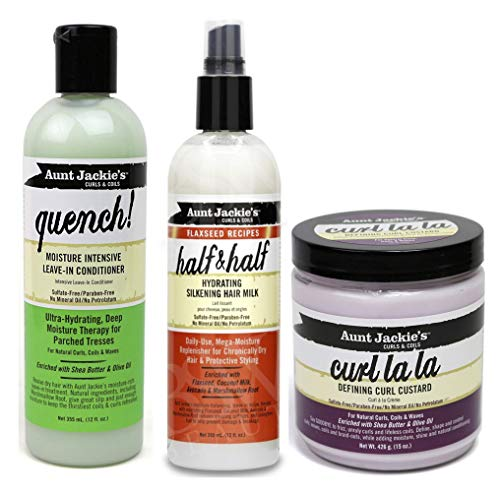 Aunt Jackies Curls & Coils - Lot de 3 soins capillaires - après-shampoing sans rinçage hydratant Quench 355...