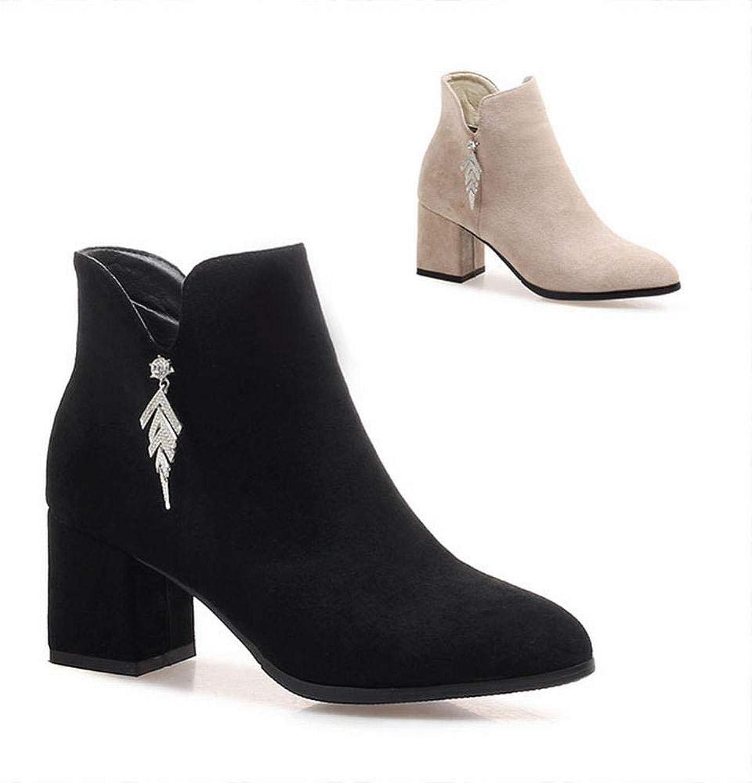 IG High Heels 6Cm Weibliche Dicke Ferse Stiefel Weibliche Britische Spitz Stiefel Frauen Schrubben 33 40 41 42 43 Yards,Schwarz,37  | Exquisite (in) Verarbeitung
