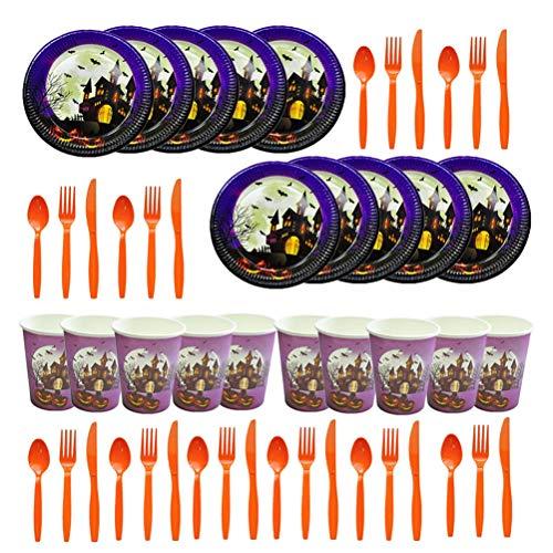Amosfun 30 piezas de Halloween para fiestas desechables Castillo platos de papel para beber tazas tenedores, juegos de vajilla para Halloween fiesta favores para amigos