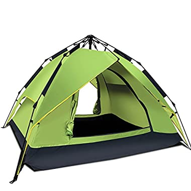 Argus Le Automatic Camping Tent 2-3 Person 3 Season Waterproof Backpacking Tent With Sun Shelter Instant Setup Family Tents With Portable Carry Bag For Camping, Backpacking, Beach, Hiking(Light Green)