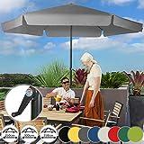 MIADOMODO Sonnenschirm in Ø 2,5m / 3m / 3,5m - in Farbwahl, Wasserabweisender Schirmbezug, mit Krempe und Kurbel, aus Stahlrohr - Marktschirm, Gartenschirm, Terrassenschirm, Ampelschirm (Ø 3 m, Grau)