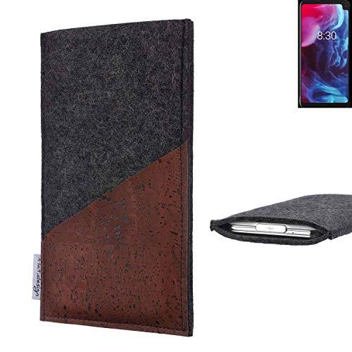 flat.design Handy Hülle Evora für Archos Oxygen 63XL handgefertigte Handytasche Kork Filz Tasche Hülle fair dunkelgrau