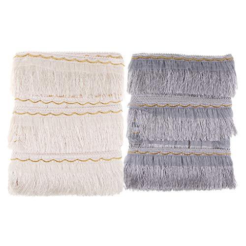 B Baosity 2 Piezas de Moda Borla Larga Flecos Tapicería Artesanía Textiles para El Hogar Costura Decoración de Ropa de Cama - Jade Pálido, Gris Plateado