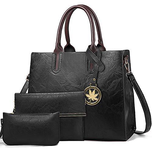 BestoU Damen Handtasche Schwarz Gross Leder Groß Tasche Umhängetasche Schultertasche Shopper Henkeltasche Set (Schwarz)