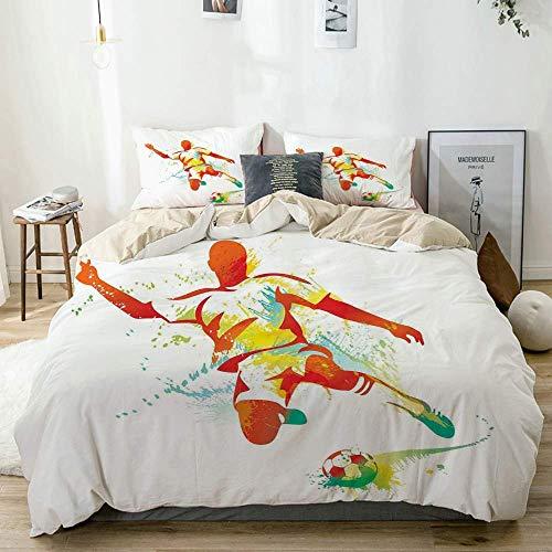 Juego de funda nórdica beige, jugador de fútbol patea la pelota, competiciones, salpicaduras de pintura, botas de velocidad, juego de cama decorativo de 3 piezas con 2 fundas de almohada, fácil cuidad