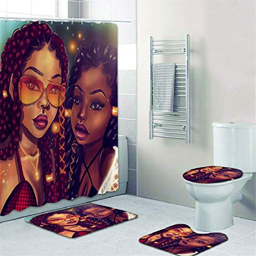 4 Pcs Sets Afro Black Twins Bathroom Rugs and mats Sets African American Women Bathroom Sets,Black Girl Magic Shower Curtains with Toilet Pad Cover Bath Mat Shower Curtain Sets