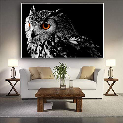 ZWBBO Leinwand Gemälde Wandkunst Leinwand Malerei Schwarz Weiß Eule Poster Und Drucke Nordischen Tiere Bilder Für Wohnzimmer Dekor-60x80cm