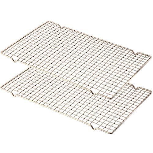 Mokpi Oven Safe Cooling Baking Rack, Drying Wire Racks, Size 16.14''x10'',Thick Heavy Duty Commercial Quality Grid Rack (Champagne Gold-2 Pack)
